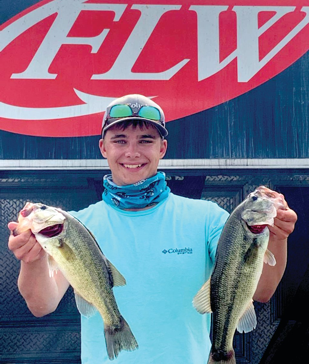 Noah Dickneite, earned 14th place Sunday as a co-angler at the FLW bass tournament at Lake of the Ozarks.