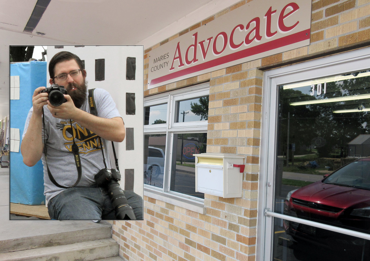 The storefront of The Advocate office in Vienna. Inset: Advocate manager, photographer and salesman, Jacob Warden, hitches a ride on a Maries County student float while photographing the 2019 parade.
