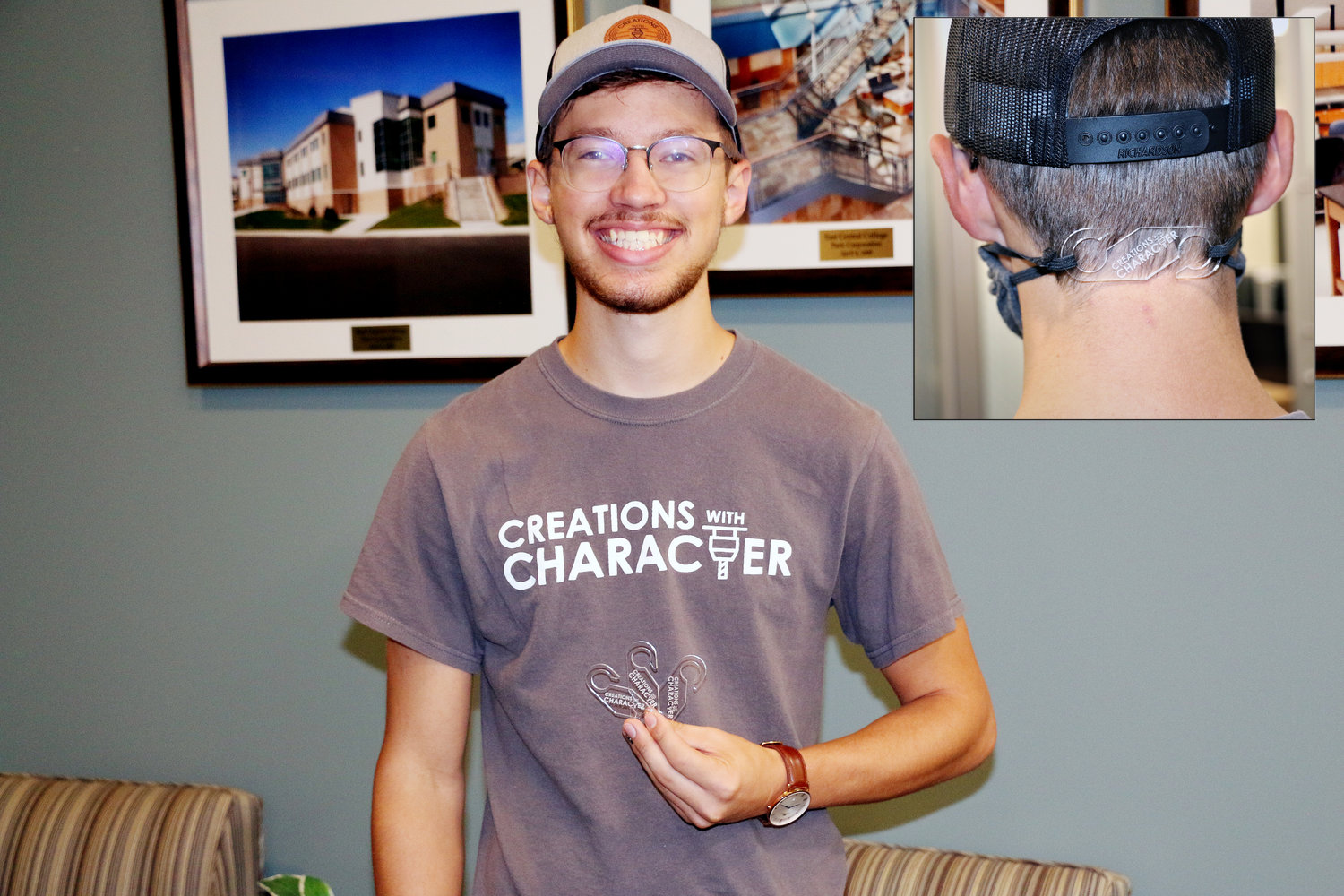 Joe Jasper of Leslie, an engineering student at ECC created plastic clips to hold face masks in place. After manufacturing them, Jasper donated clips to local healthcare workers.