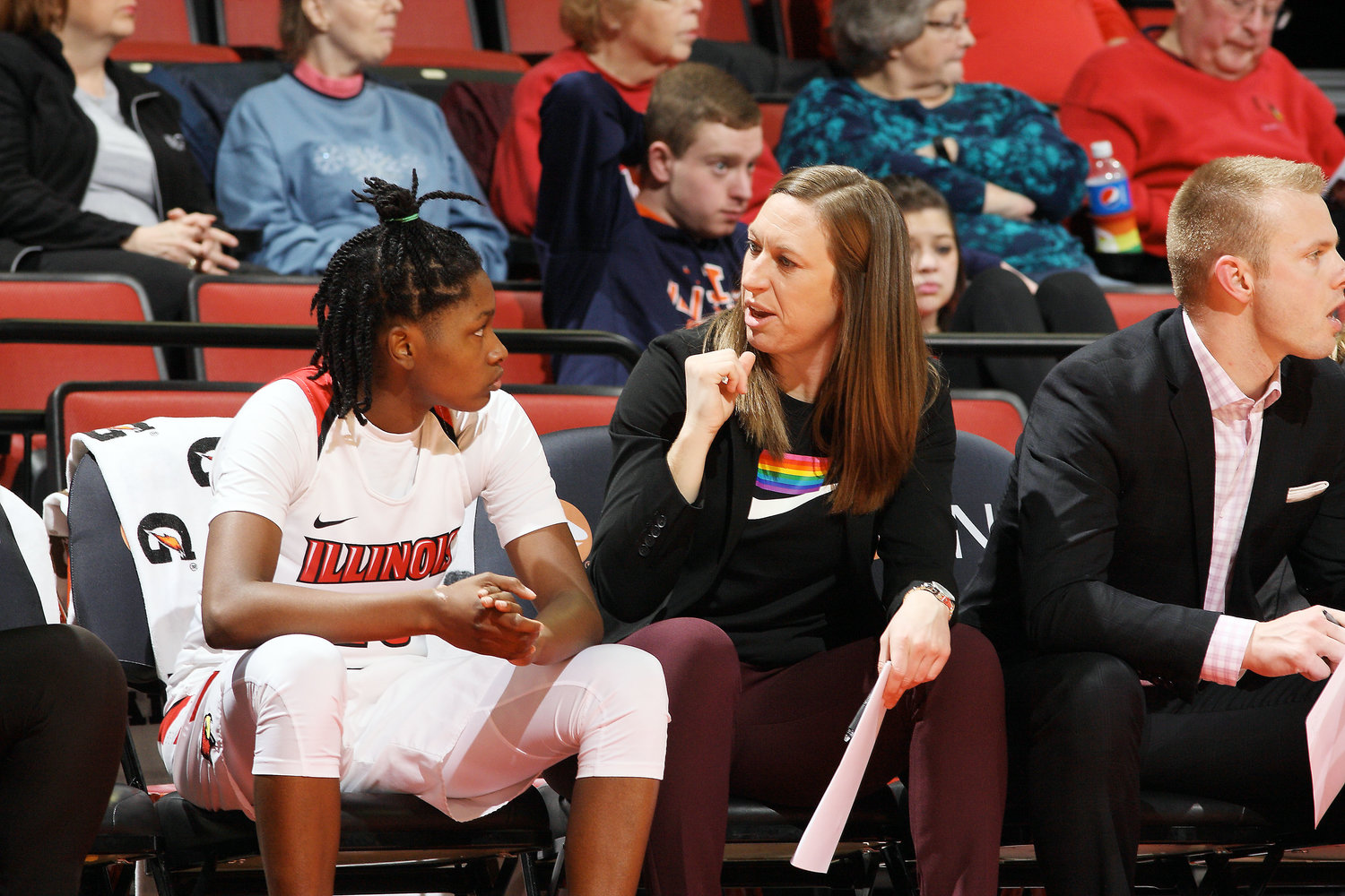 Jessica Keller (at right) is shown coaching one of Illinois State University's (ISU) players during a game last winter in Normal, Ill. She was recently promoted to associate head coach of the ISU women's basketball program.