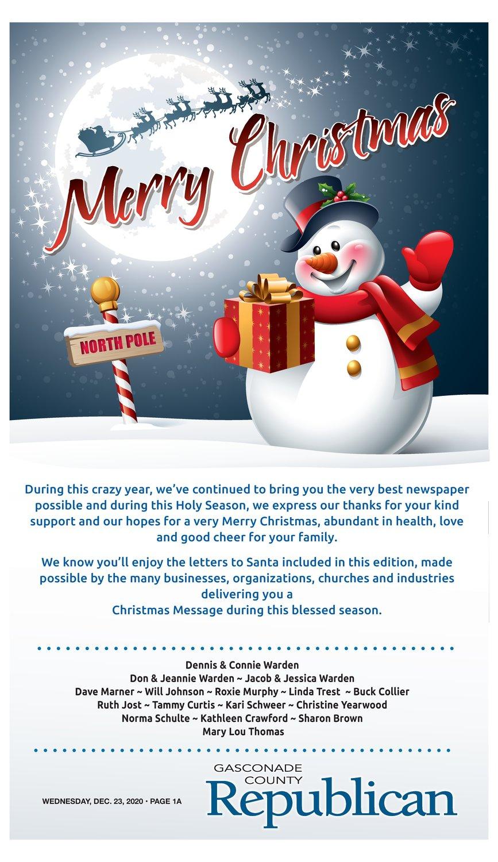 2020 Christmas Greetings | Gasconade County Republican