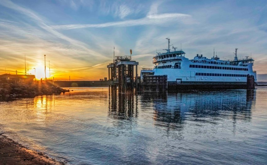 Washington State Ferry sunrise at Coupeville. Photo by Andy Porter Images.