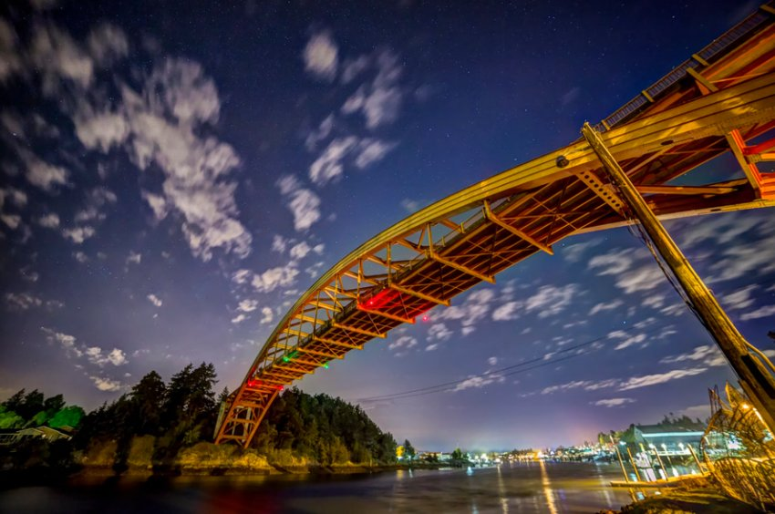 La Conner Rainbow Bridge at night. Photo by Andy Porter Images.