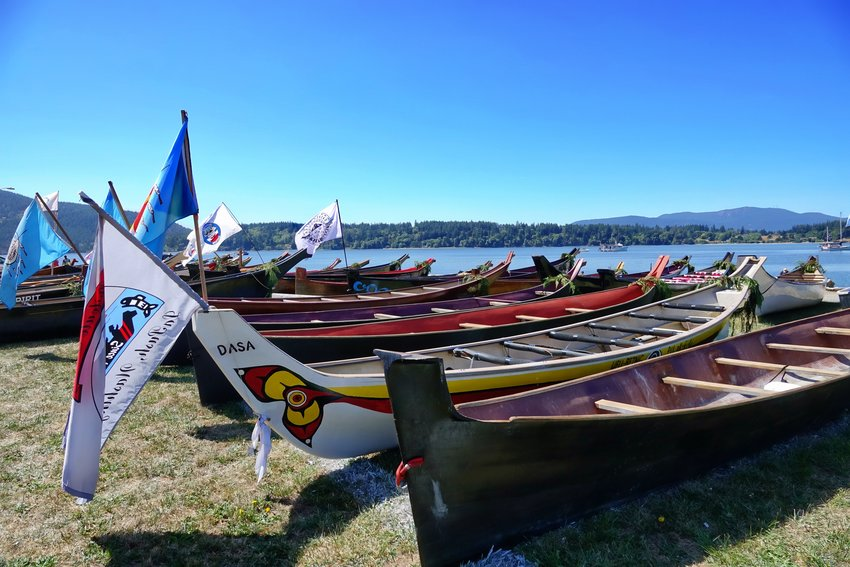 Canoes, Paddle to Lummi. Photo by Rick Lawler.