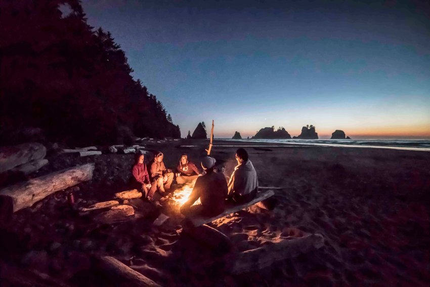 Camp fire on Shi Shi Beach